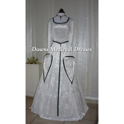 Medieval Lotr Pagan Celtic Ivory & Green Velvet Wedding Dress