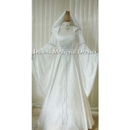 Medieval Pagan Renaissance Ivory  Cream & Silver Hooded Wedding