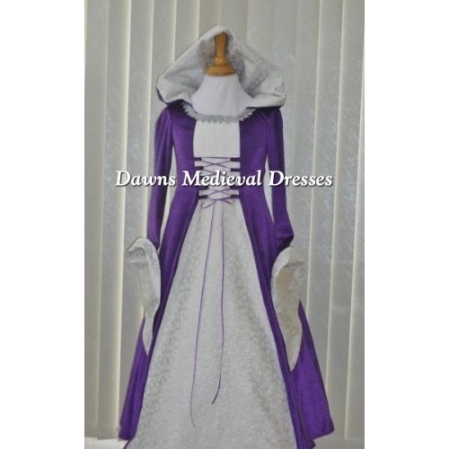 Girls Medieval Hooded Dress Purple & White  RM