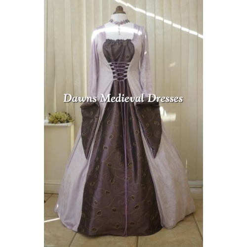 Medieval Gothic lilac & Aubergine Wedding Dress RM 12-14