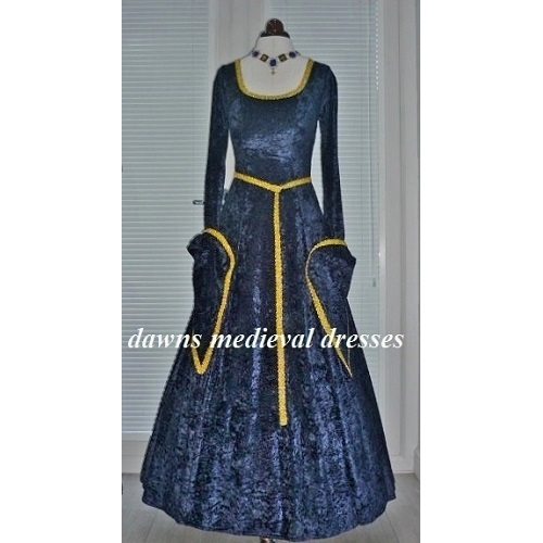 Lotr Medieval Pagan Dress Navy and Gold