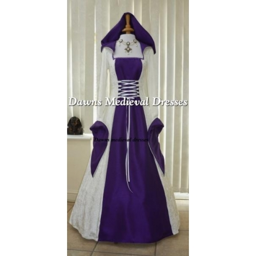Pagan Cream and Purple Wedding Hood Dress
