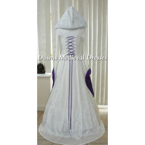 pagan cream and purple wedding hood dress medieval