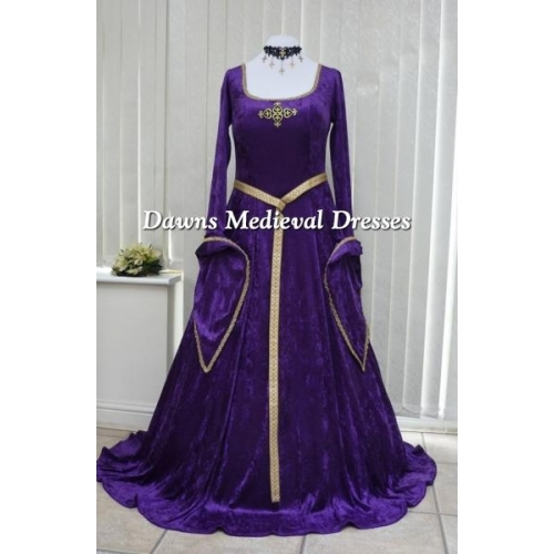 Lotr Medieval Pagan Wedding Dress Purple & Gold