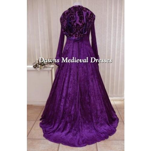 Medieval Wedding Dress Bridal Gown Silk Wedding Dress: Medieval Pagan Goth Renaissance Wedding Dress Purple Hood