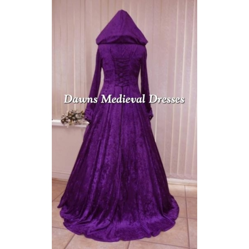 Vintage Purple Gothic Ball Gown Wedding Dresses With Cloak: Medieval Pagan Goth Renaissance Wedding Dress Purple Hood