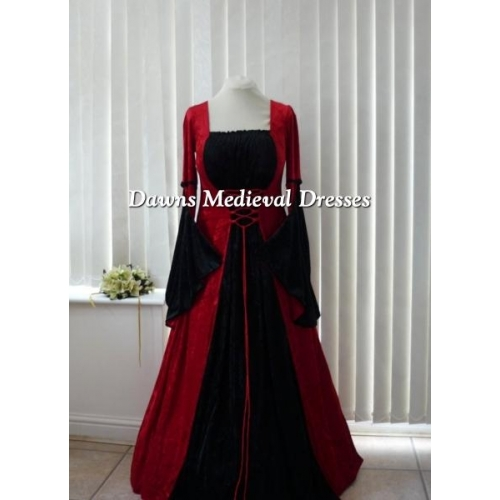 Gothic Red and Black Medieval Velvet  Dress