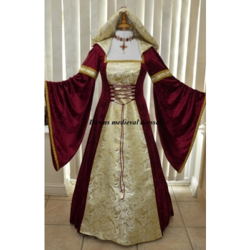 Pagan renaissance burgundy gold wedding hood dress for Burgundy and gold wedding dress