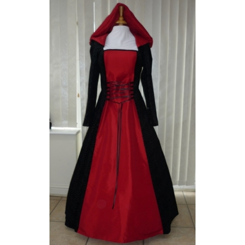 Medieval Wicca Black & Red Dress Hooded Plus Size 20 22