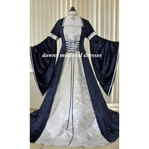 Renaissance Medieval Pagan Navy Blue White & Silver Wedding Dres
