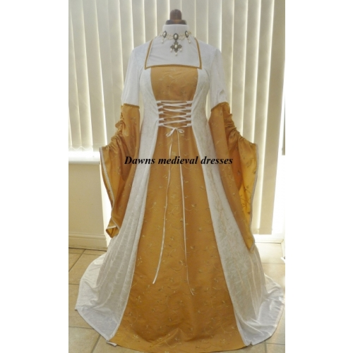 Renaissance Medieval Pagan Cream Gold Wedding Dress