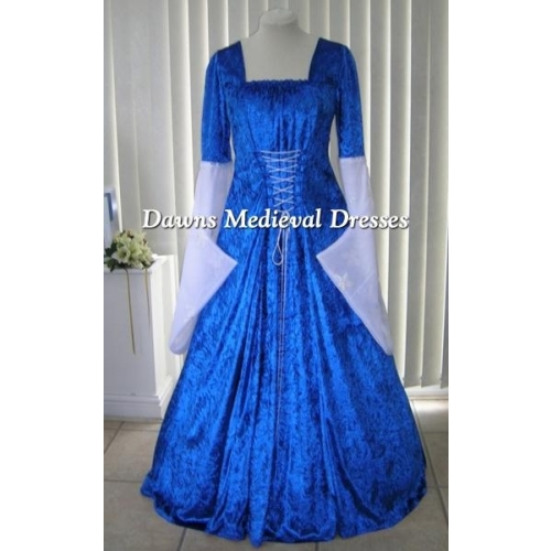 MEDIEVAL GOTH OPEN SLEEVE ROYAL BLUE VELVET DRESS