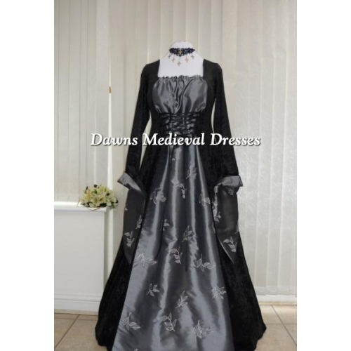 Gothic Medieval Black Velvet and Silver Taffeta Dress