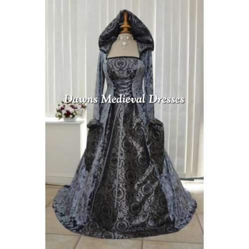 Medieval Handfasting Hooded Wedding Dress Slate