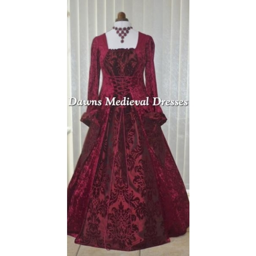 Gothic Medieval Dress Burgundy velvet and burgundy taffeta