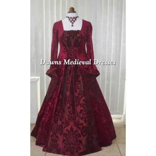 Renaissance Medieval 2017 Wedding Dresses A Line Burgundy: Dawns Medieval Dresses