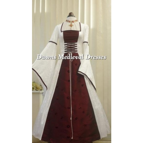 MEDIEVAL PAGAN WHITE AND WINE  WEDDING DRESS
