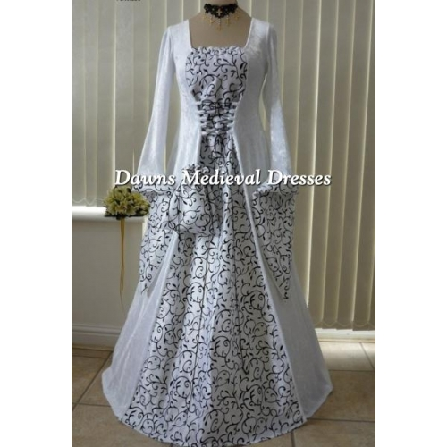 White Medeival Wedding  Dress in velvet and taffeta