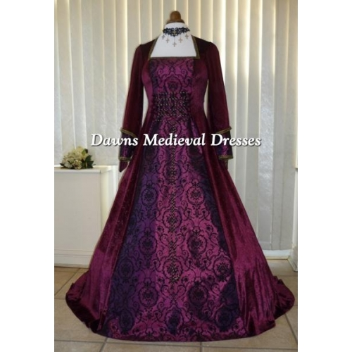 Renaissance Medieval Pagan Wine & Black Wedding Dress Costume