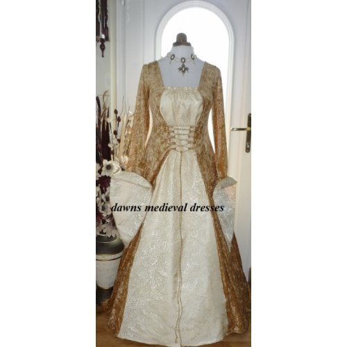 Medieval Goth Pagan Gold & Cream Wedding Dress Costume Ball Gown