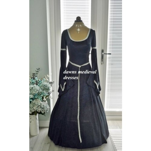 Medieval Pagan Navy Blue Lotr Wedding Dress