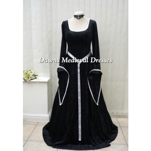 Lotr Medieval Renaissance  Dress Costume Black & White