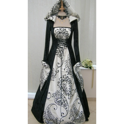 Handfasting Medieval Hooded Wedding Dress Black & Cream