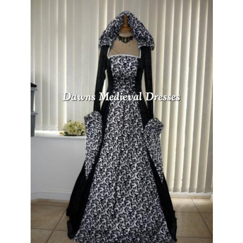 Renaissance Medieval Hooded Wedding Dress Costume Black & White