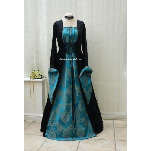 Medieval Gothic Black Teal Blue Dress