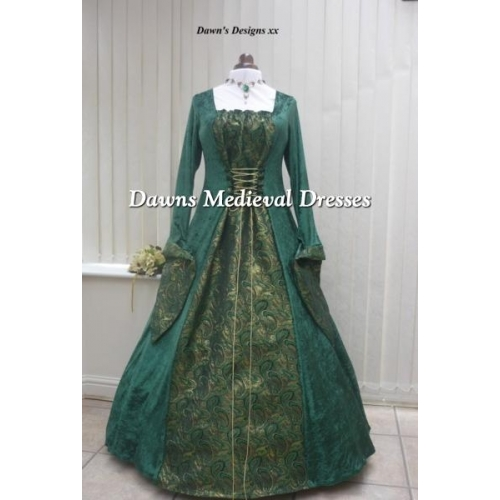Medieval Gothic Green Velvet And Brocade Dress