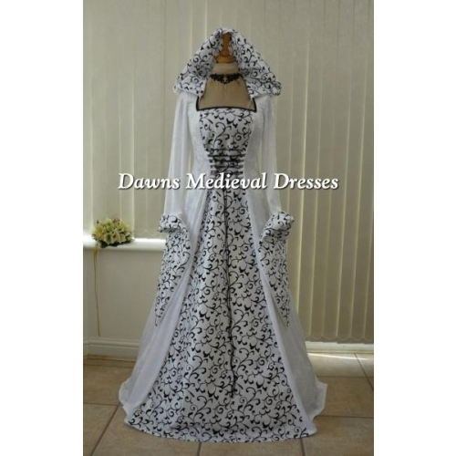 Pagan Medeival Renaissance White Wedding Hooded Dress