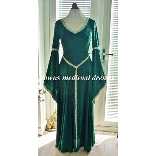 Green Medieval Pagan Bridesmaid V neck Dress