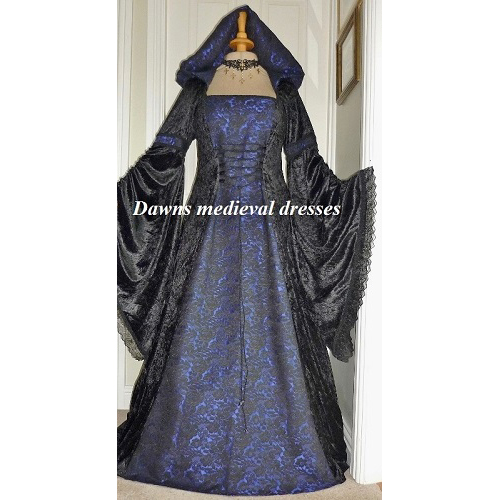Medieval Pagan Renaissance Wedding Dress Black and Blue Hood