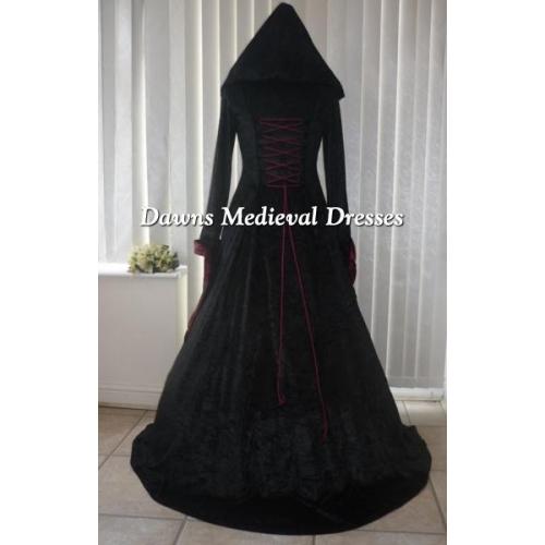 Renaissance Medieval 2017 Wedding Dresses A Line Burgundy: Medieval Gothic Hooded Wedding Dress Black & Burgundy