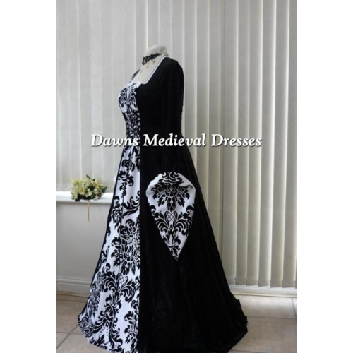 Medieval Black And White Gothic Wedding Ball Gown: Medieval Gothic Black And White Bold Wedding Dress
