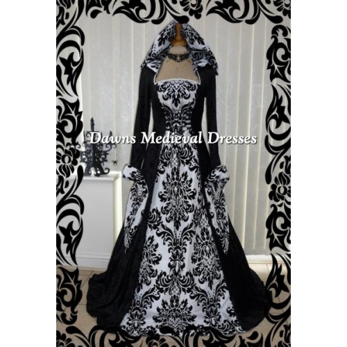 Medieval Handfasting Gothic Hooded Dress Black & White Bold