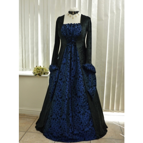 Medieval Gothic Black & Midnight Blue embroidered Taffeta Dress