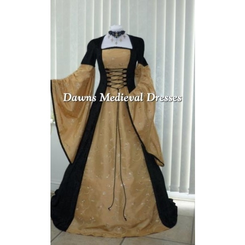Renaissance  Medieval Black And Gold Taffeta Dress