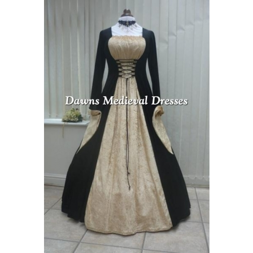 Medieval Gothic black and gold velvet dress