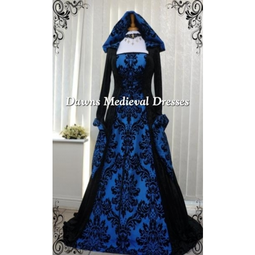 Medieval Gothic Hooded Wedding Handfasting Dress Black & Bold Bl