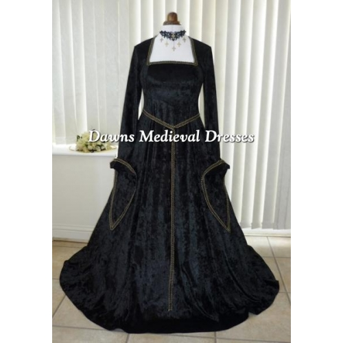 Lotr Medieval Renaissance Black & Gold Dress