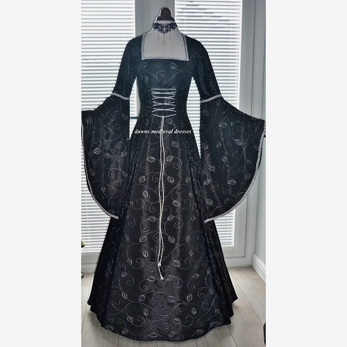 Renaissance Medieval Black and Silver Dress