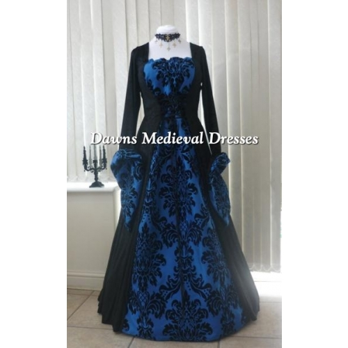 Medieval Gothic black and bold blue dress