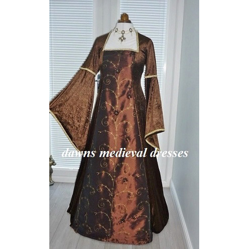 Medieval Pagan Wedding Handfasting Dress Brown RM 16 18