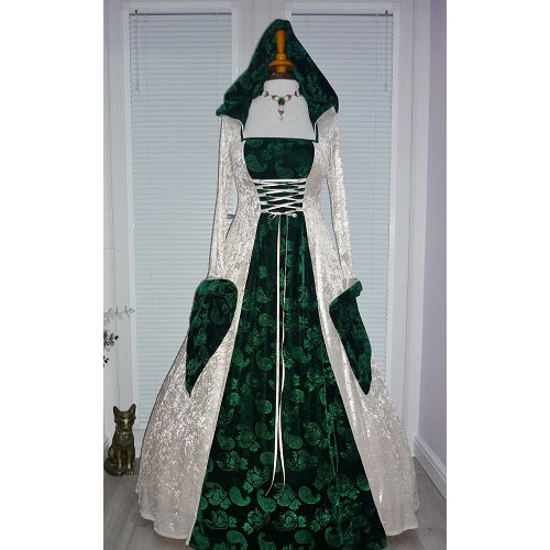 Pagan Handfasting Medieval Hooded Wedding Dress RM 16- 18