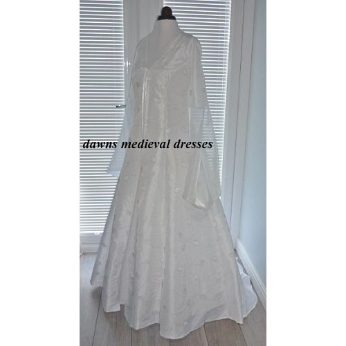 Pagan Medieval Snow Queen White & Silver Wedding Cloak Coat  12-14 RM