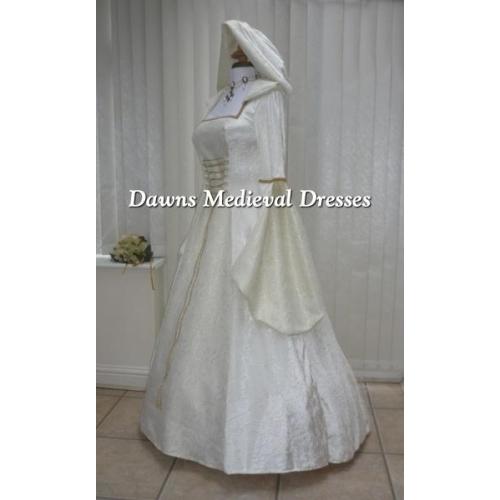 Cream Medieval Renaissance Hooded Wedding Dress Pagan Medieval
