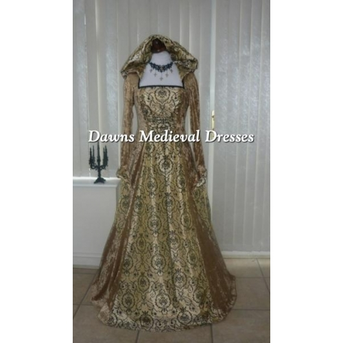 Medieval Renaissance Hooded  Dress Gold & Black