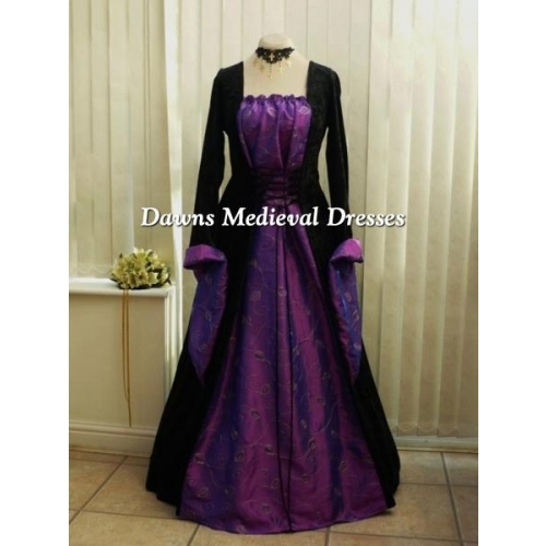 Gothic Medieval Black and Purple Velvet and leaf Taffeta Dress