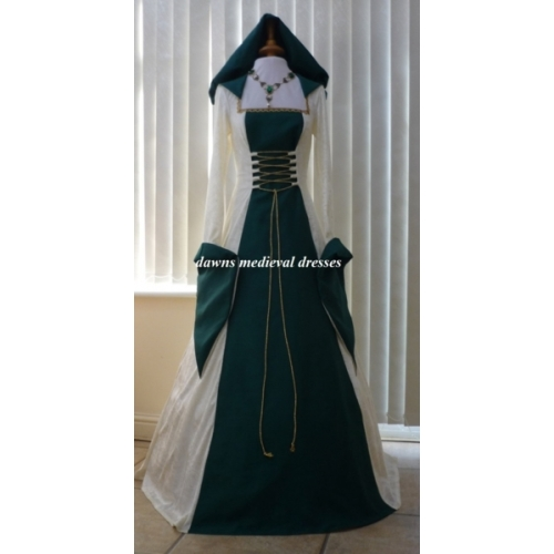 Celtic Pagan Cream Green Wedding Dress Medieval Dresses And Gowns For Weddings Handfasting Ceremonies And Other Special Occasions